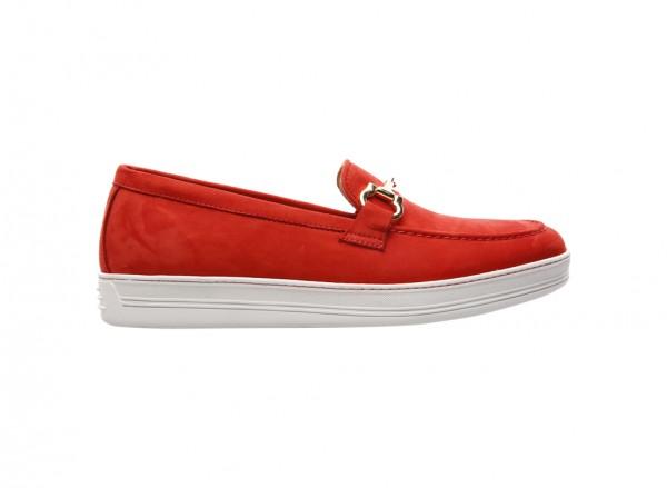 Nabuk Red Slip-Ons - 770001