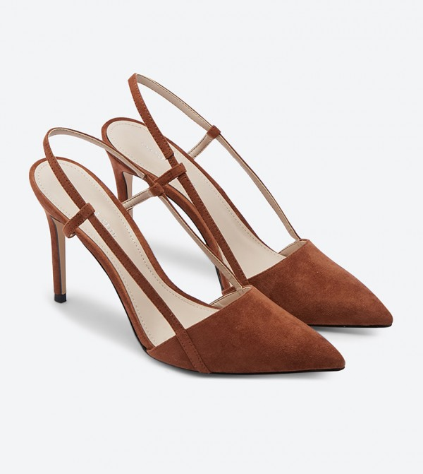 a09d871fd Pointed Toe Slingback Heels - Brown