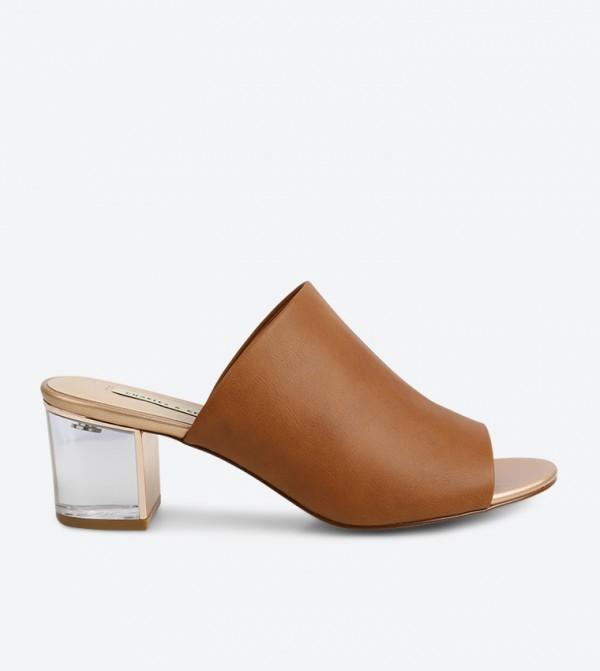 94b28b977b0 Charles & Keith Lucite Heel Mule Sandals - Camel