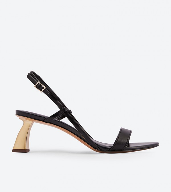 27b5fa4776a Slingback Sculptural Heel Strappy Sandals - Black