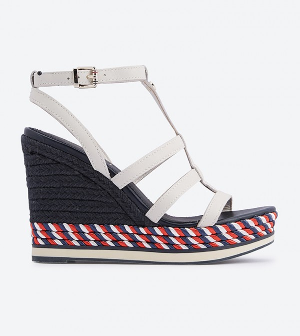 bd756ee23 ... Buckle Closure Wedge Sandals - White. FW0FW03821-WHITE