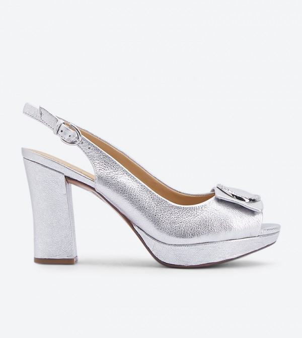 9bb76f1ec463 Abby Heritage Ornament Detail Pumps - Silver NAABBY