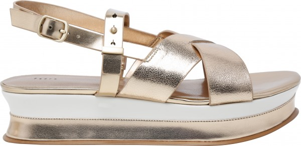 حذاء سميك الكعب ذهبي