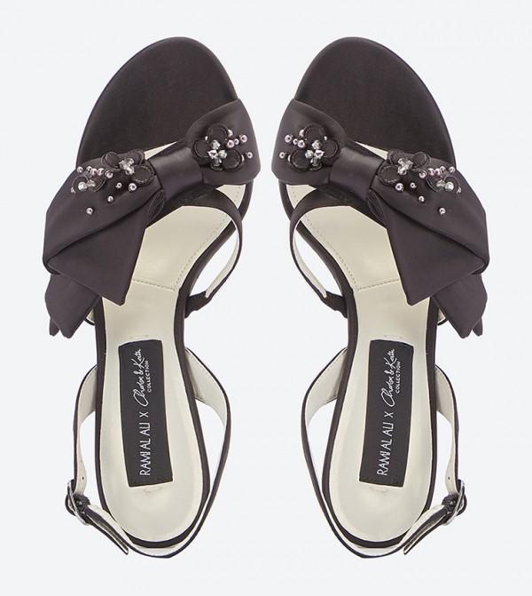 a59d7892c4c Embroidered Bow Details Slingback Sandals - Black
